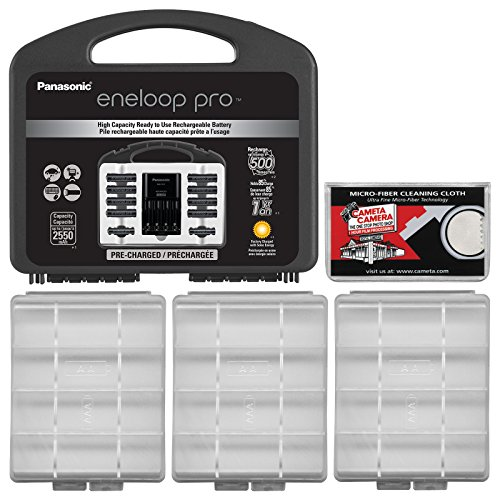 Panasonic eneloop Pro Charger with (8) AA and (2) AAA Batteries & Case Set + (3) Battery Cases + ()