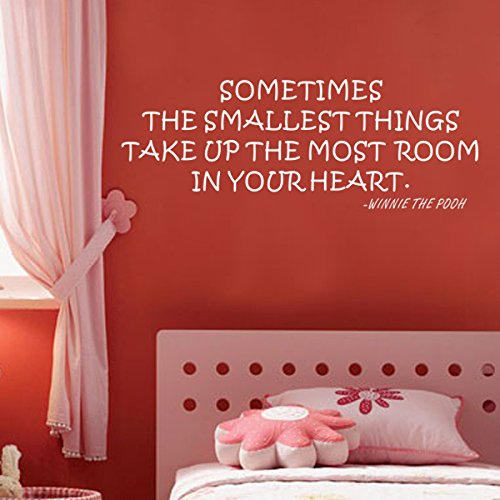 Pop Decors WL-0022-Va Inspirational Quote Wall Decal, Sometimes The Smallest Things Take up The Most Room (Best Things For Your Heart)