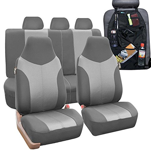 FH GROUP FB101115 Supreme Twill Fabric High Back Car Seat Cover (Full Set Airbag Ready and Split Rear Bench), Gray w. FREE GIFT- Fit Most Car, Truck, Suv, or Van