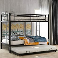 Bedroom Bunk Beds with Trundle, Hinpia Metal Twin Over Twin Bunk Bed Frame with 2 Ladders and Safety Guardrails, No Box Spring… bunk beds