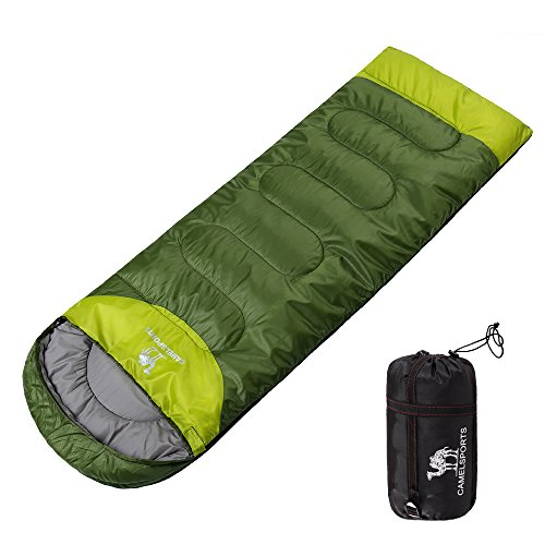 Camel Outdoor Camping Sleeping Bag Lightweight Portable Waterproof Perfect Traveling Hiking Activities 2.43 lb Color Army green(left pack)