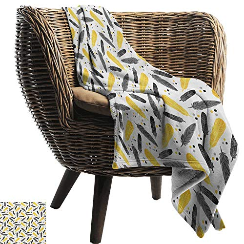 (Throw Blankets Fleece Blanket,Feather,Bohemian Exotic Plumage with Watercolor Spots Pastel Print,Earth Yellow Charcoal Grey White,300GSM, Super Soft and Warm, Durable 50