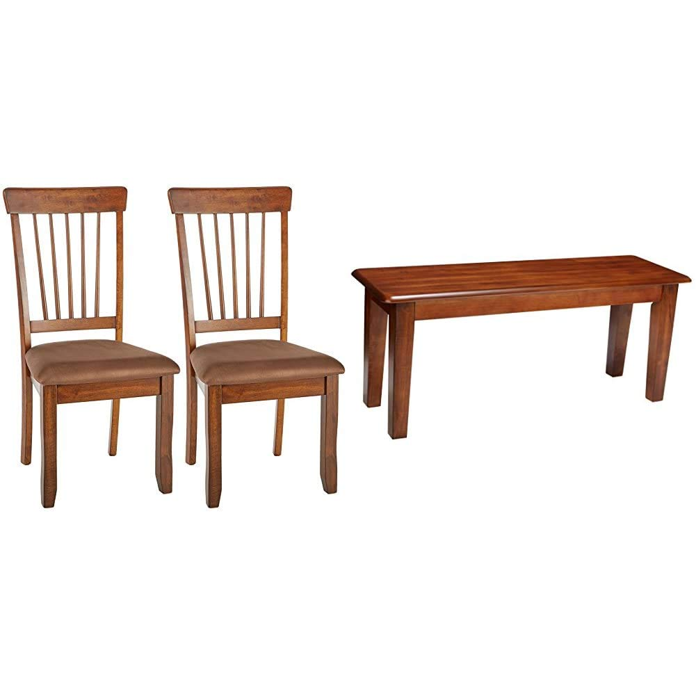 Signature Design by Ashley Kimonte Dining Room Chair Set of 2, Dark Brown & Ashley Furniture Signature Design - Berringer Dining Bench - Rectangular - Vintage Casual - Rustic Brown Finish