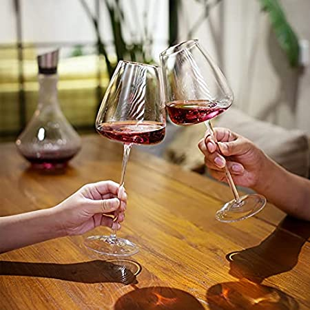 YUDIZWS Copas de Vino Crystal Borgoña de Cristal 650ml, Talle de Vino Rojo Claro para Bares de Casas y Mesa de Comedor,550ml
