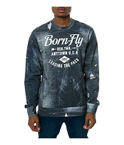 Born Fly Mens The Ghost Crewneck Sweatshirt, Blue, Medium (Born Fly Clothing)