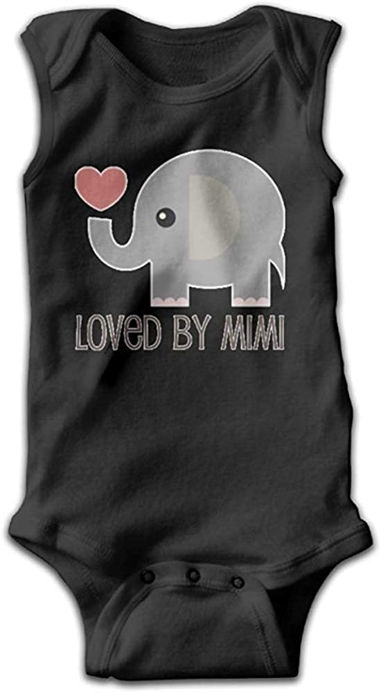 GongYe Loved by Mimi Elephant Comfortable Baby Infant Onesie Sleeveless Playwear Black