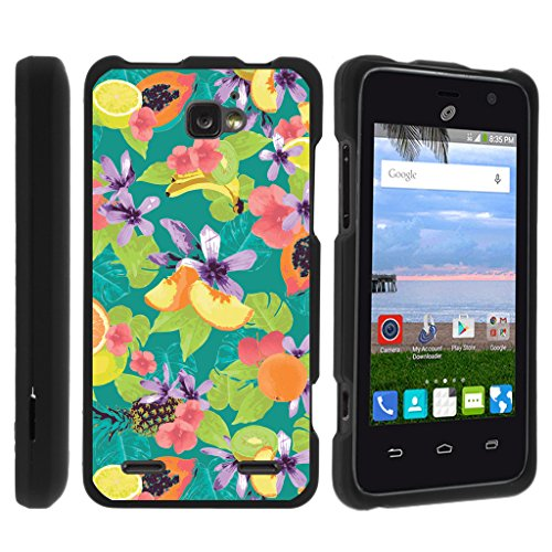 TurtleArmor | Compatible for ZTE Sonata 2 Case | ZTE Zephyr Case | ZTE Paragon Case [Slim Duo] Slim Snap On Hard Cover Protector Rubberized Unique Designs on Black - Fruits and Flowers