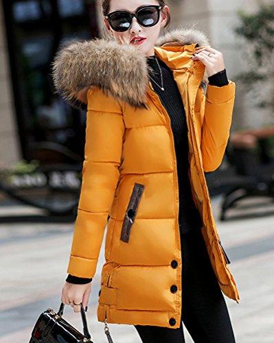 Bolsillo Con Elegantes De Plumas Abajo De Abrigo Invierno Largo Amarillo Abrigos Mujer Chaqueta PnIxwq6v