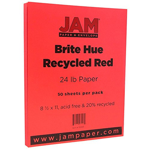 JAM PAPER Colored 24lb Paper - 8.5 x 11 - Red Recycled - 100 Sheets/Pack]()