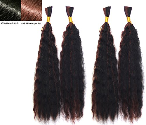 Hot selling Wet N Wavy Bulk hair, Top Quality Synthetic Fibers, Bulk Hair for Micro Braiding or Crochet Braiding, Super Bulk Style 2 Packs (4 Bundles) Deal, Length 18 Inch Color OMBRE #1B/#33