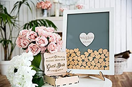 Amazoncom Guestbook Hearts Drop Box Wedding Guest Book Alternative
