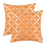 CaliTime Pack of 2 Soft Throw Pillow Covers Cases for Couch Sofa Home Decoration Modern Quatrefoil Trellis Geometric 18 X 18 Inches Bright Orange
