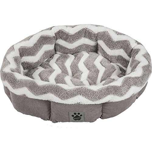 Precision Pet SnooZZy Hip as a Zig Zag Shearling Round Bed, Gray and White
