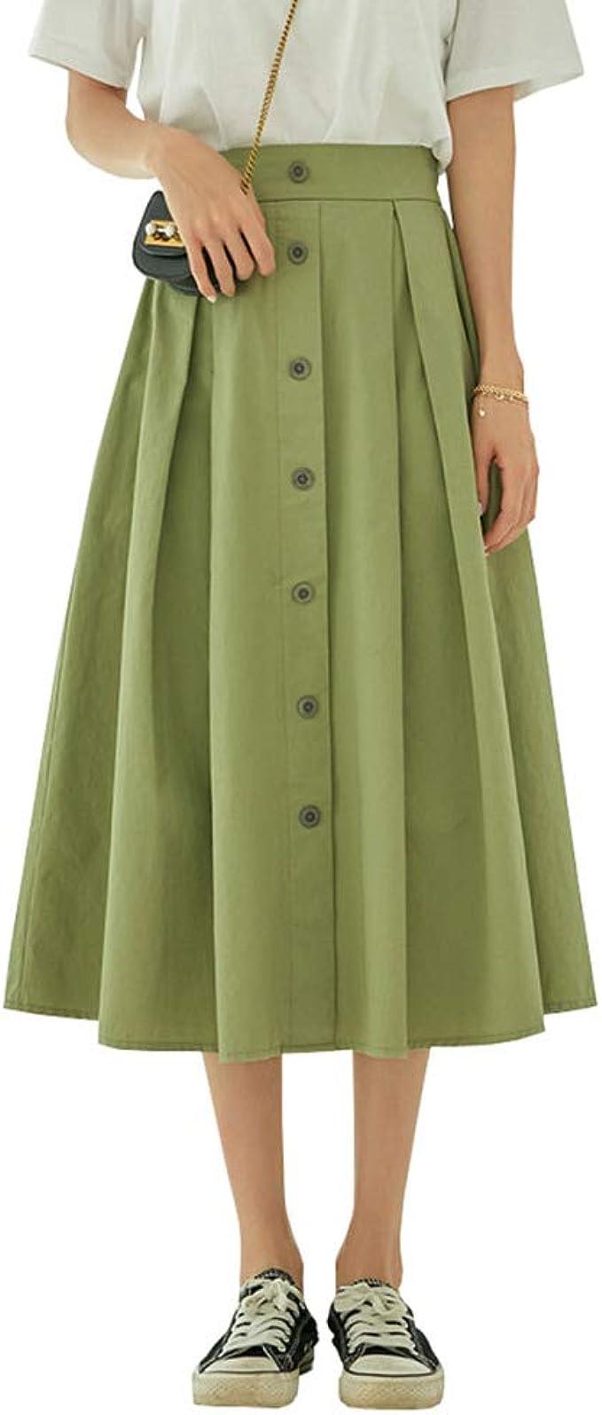 Falda Larga de Color Caqui con Hebilla Plisada y Falda Verde ...