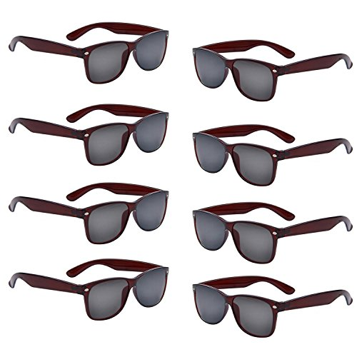 Neon Colors Party Favor Supplies Unisex Sunglasses Pack of 8 (Brown) -