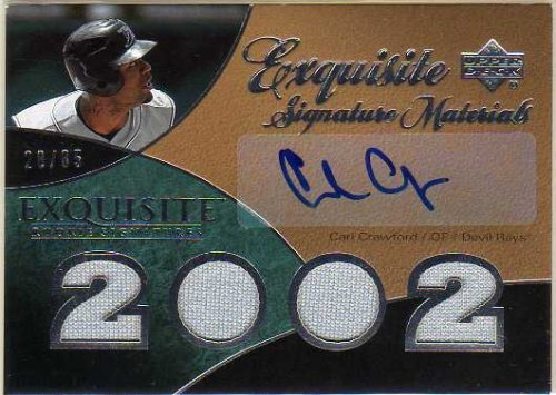 (2007 Exquisite Collection Rookie Signatures Signature Materials #CC Carl Crawford Autograph Jersey Card Serial #'d/85)