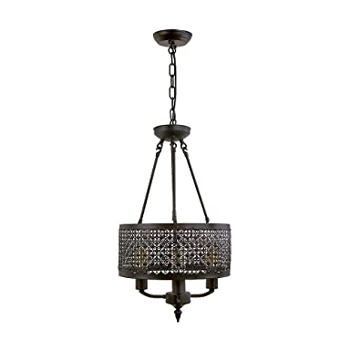 LNC Mini Chandelier Farmhouse Hanging Lamp Drum Shades Kitchen Island Lighting A03211, Brown