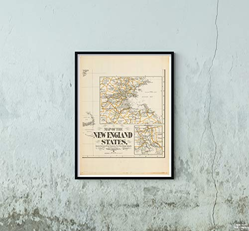 Map Northeast U.S. State & City s, Southeast New England 1900 Circa City Historic Antique Vintage Reprint Size: 18x24 Ready to Frame