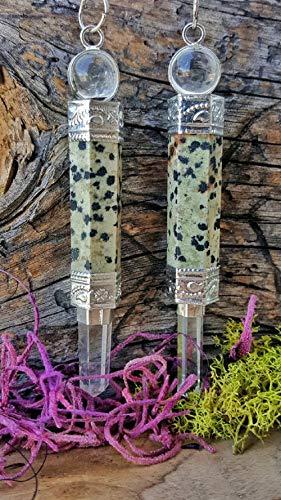Dalmatian Jasper Pendulum Wand with Crystal Point #OM_6021 -  fooad_om