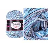 Milk Cotton Yarn R1002 knitting Yarn Scarf Yard Warm Soft Yarn, Blue&White&Gray