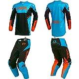 O'Neal Element Racewear Blue/Orange Adult motocross MX off-road dirt bike Jersey Pants combo riding gear set (Pants W38/Jersey X-Large)