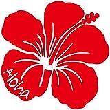 nc-smile ハワイアンステッカー ハイビスカス Aloha (A, レッド)