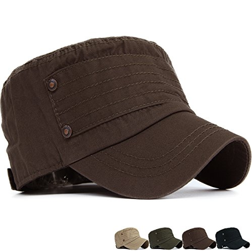 REDSHARKS Cadet Cap Military Army Flat Top Hat Adjustable Stripe Studded Coffee