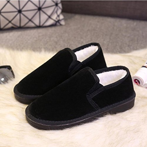 Botas Mujer,Ouneed ®Moda Mujer Botas de nieve de gran tamaño Piel de tobillo plano forrado zapatos Zapatos perezoso Negro