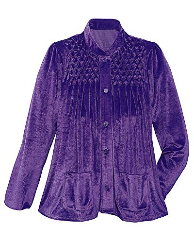 - National Smocked Bed Jacket, Purple, Large