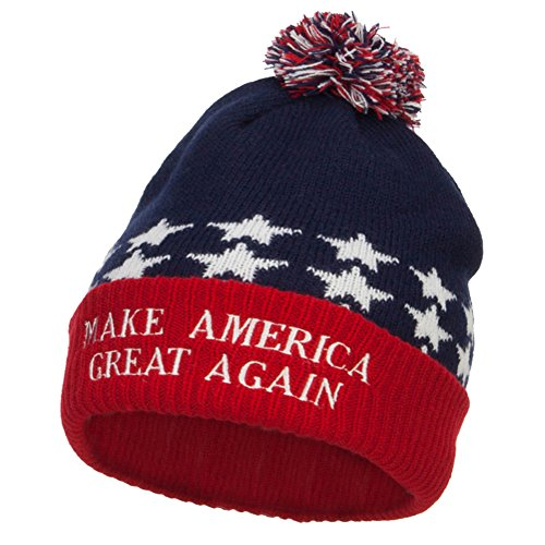 E4hats Make America Great Again Embroidered USA Beanie - Red Blue ()