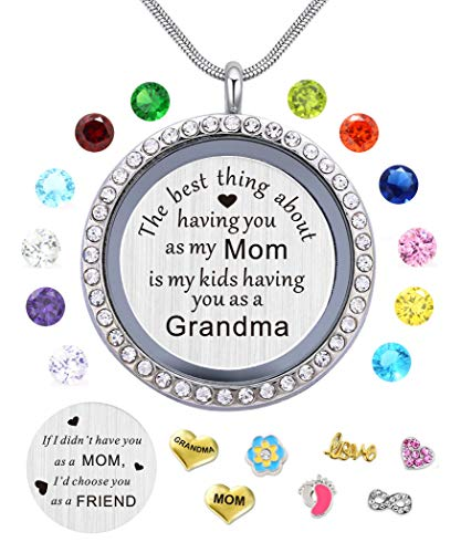 BEFFY Best Gifts for Mother Mom Grandma Mammy Mum,30mm Round Living Memory Floating Charm Locket Pendant Necklace with Birthstones & Charms -