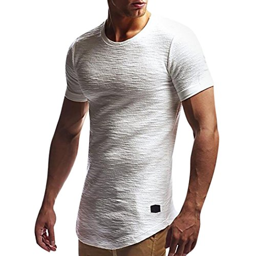 ErYao Men Tee Slim Fit O Neck Short Sleeve Muscle Cotton Casual Tops Blouse Shirts (White, L)
