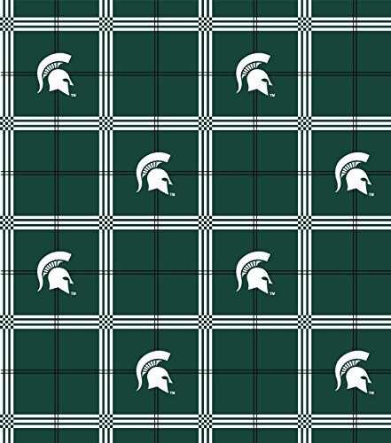 (Flannel Cotton College Michigan State University Spartans Helmets Dark Green Flannel Fabric Print By the)