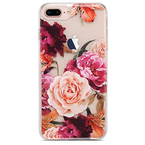 Coolwee Clear iPhone 8 Plus Case,Rose Case for iPhone 6 Plus 7 Plus for Women Girls Cute Slim Thin with Soft TPU Bumper for Apple iPhone 6s Plus (5.5 inch)-(Fleur Series) 3D Floral Purple ()