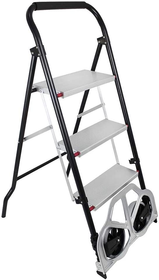 Sotech - Carro de Transporte, Escalera Plegable 2 en 1, Tamaño plegado: 112 x 48 x 7,5 cm, Carga máxima: 100 kg (escalera), 150 kg (carro de mano): Amazon.es: Hogar