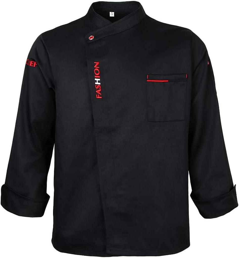 P Prettyia Blouse de Cuisinier Veste de Cuisinier Unisexe Manches Longues Simple Boutonnage