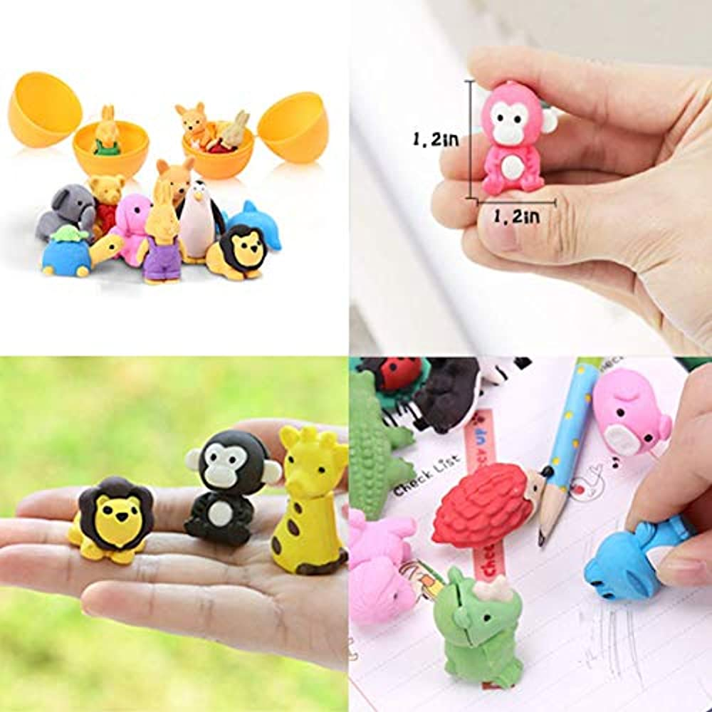 OHill Pack Of 32 Animal Erasers Bulk Kids Pencil Puzzle ...