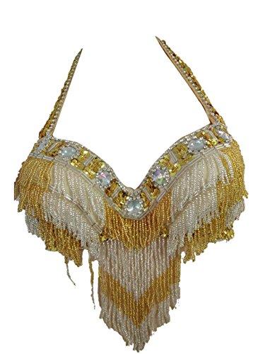 Whitewed Costumes De Danse Du Ventre Cabaret Licol Sequin Ceinture De Soutien-gorge Avec L'or Frange De Perles