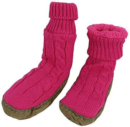 N'Ice Caps Little Girls Cable Knit Slipper Socks with Non-Skid Gripper Soles (4-5 Years (6.0