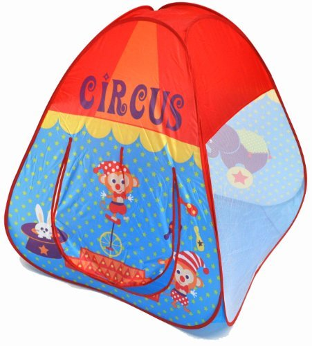 Circus Theme Twist Play Tent House for Kids w/ Safety Meshing for Child Visibility & Tote Bag by eWonderWorld