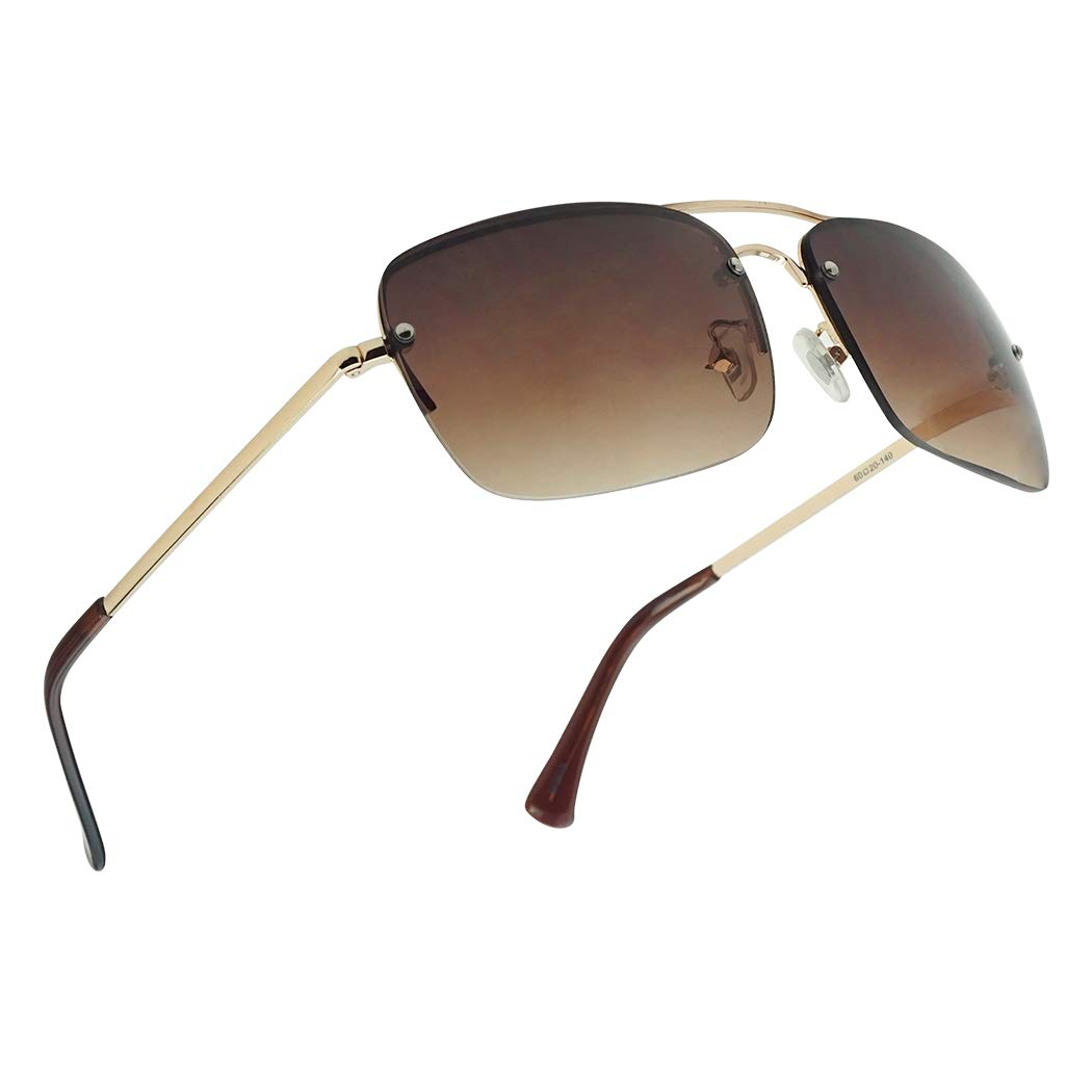 Classic Gradient Tint Rimless Square Aviator Sun Readers Full RX Strength Sunglasses (Gold Frame | Brown Gradient, 1.75) by SunglassUP Readers