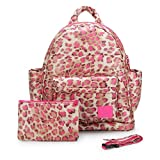 Product review for CiPU Baby Diaper Bag with 14 Compartments & 3 Bag Accessories including Pouch - Weightless on Your Shoulder & Waterproof - M Mini Caramel Pink Leopard