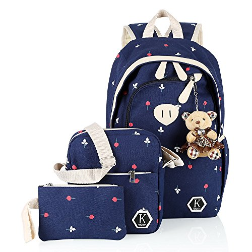 Blue Girl Bag Cross Shoulder Backpack Hotrose Messenger 3x Flower Bags School Bag Canvas Rucksack Travel School body ZwP5qwv