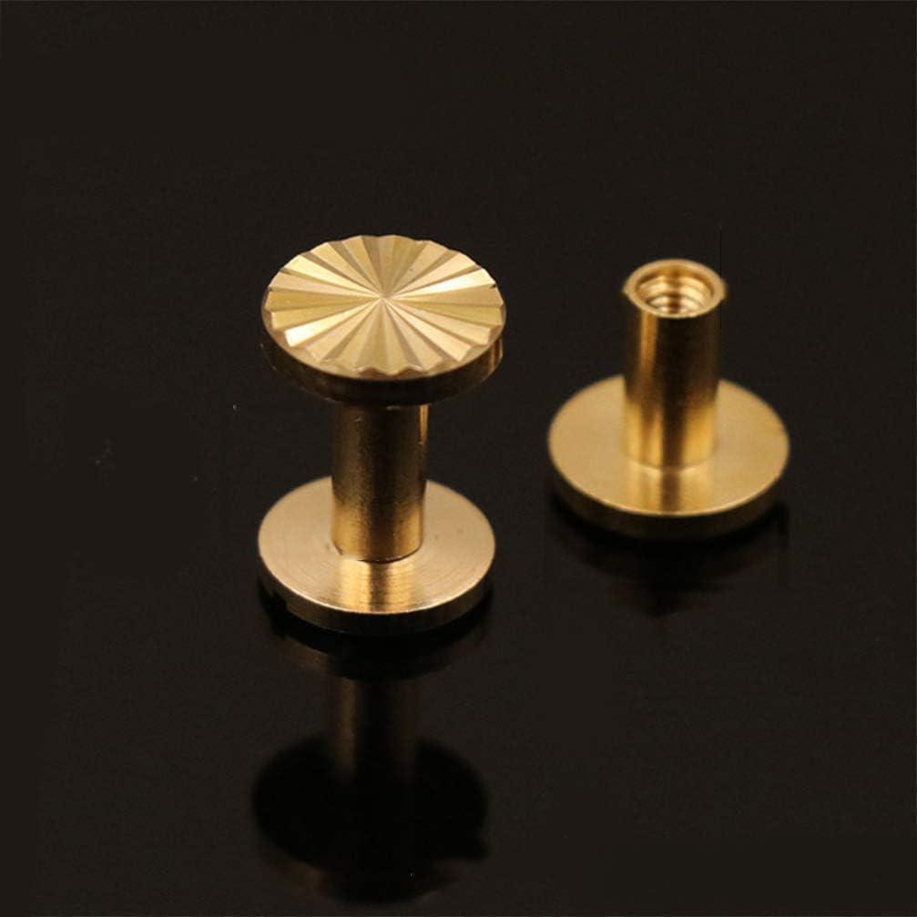 Messing Exceart 10 St/ück Chicago Schrauben Set Bolzen Nieten Set aus massivem Messing Sonnenblume f/ür G/ürtel Tasche Leder Handwerk Basteln Kleidung Nieten 1 * 0,4 cm Gold. 4 m