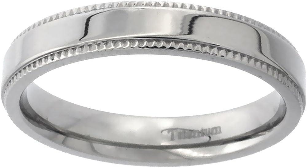 Sabrina Silver 4mm 6mm 7mm Milgrain Titanium Rings for Men Women Polished Comfort Fit Sizes 5-14