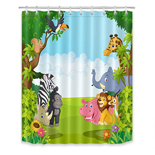 LB Wildlife Safari Shower Curtain Set Kids Bathroom Curtains Cartoon Animals in Jungle Forest Cute Bathroom Decorations Waterproof Fabric 60x72 inch with Hooks