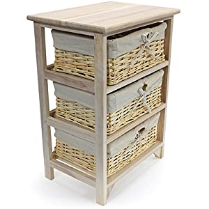 Sabichi Paulownia 3 Tier Drawer Wooden Storage Cabinet With Wicker Baskets  Bedroom Bedside Unit Furniture