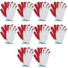 MJ 10 Pairs Industrial Safety Latex Coating String Knit Work Gloves White