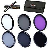 K&F Concept 37mm 6pcs Slim UV Slim CPL Slim FLD ND2 ND4 ND8 Lens Filter Kit UV Protector Circular Polarizing Filter Neutral Density ND Filter Set for Panasonic LUMIX DMC-LX7 + Cleaning Pen + 6 Slot Filter Pouch