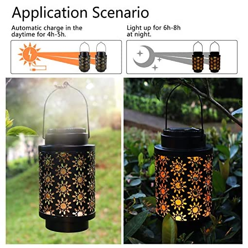 Garden and Outdoor 2 Pack Solar Lanterns Outdoor Hanging Retro Metal Landscape Lighting for Patio Yard Pathway Decorative, Crafted Garden… outdoor lighting